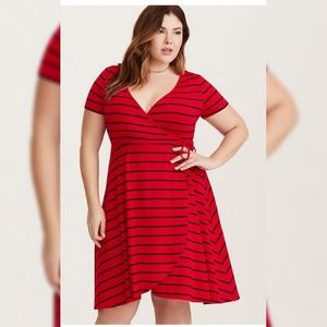 Torrid Striped Faux Wrap Dress